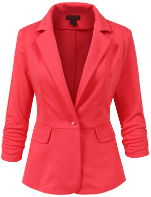 WOMEN LIGHT WEIGHT PEPLUM 3/4 SHIRRING SLEEVE ONE BUTTON BLAZER JACKET NNEWJ106