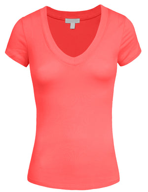 STRETCH LIGHT WEIGHT BASIC V-NECK SHORT SLEEVE T-SHIRTS NNEWT11
