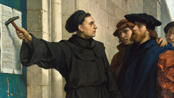 Martin Luther nails his 95 Thesis to the Castle Church in Wittenberg.