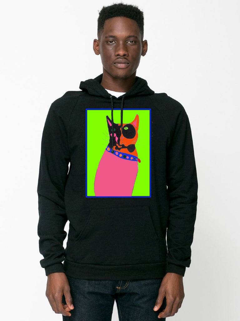 Pink Orange Black Kitty with Green on Black Hoodie by Half Tail Alchemy