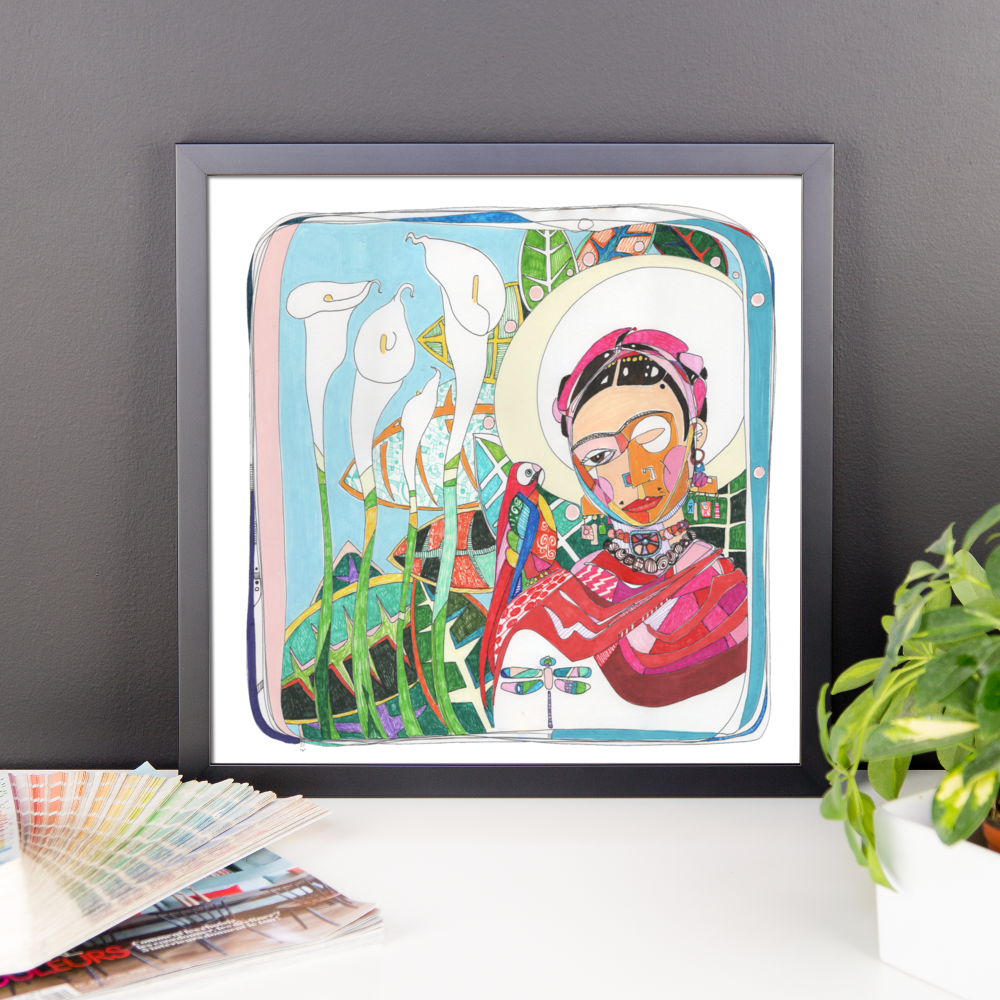 Frida Illustration by Andrei Hedstrom 14x14 Framed poster