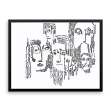 Faces abstract illustration by Andrei Hedstrom-Framed poster