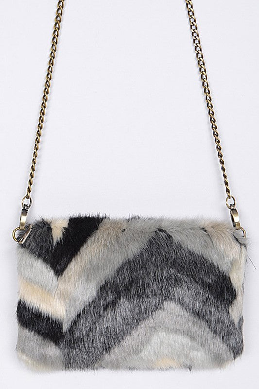Shayla Multi Faux Fur Clutch Bag