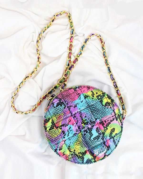 Round Quilted Crossbody Bag- Multisnake