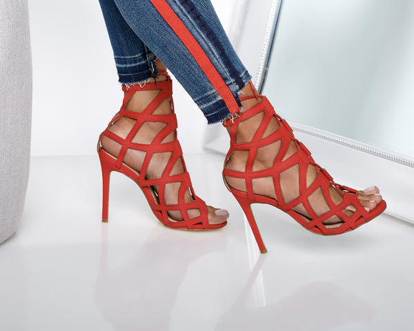Desi Caged Lace Up Heels