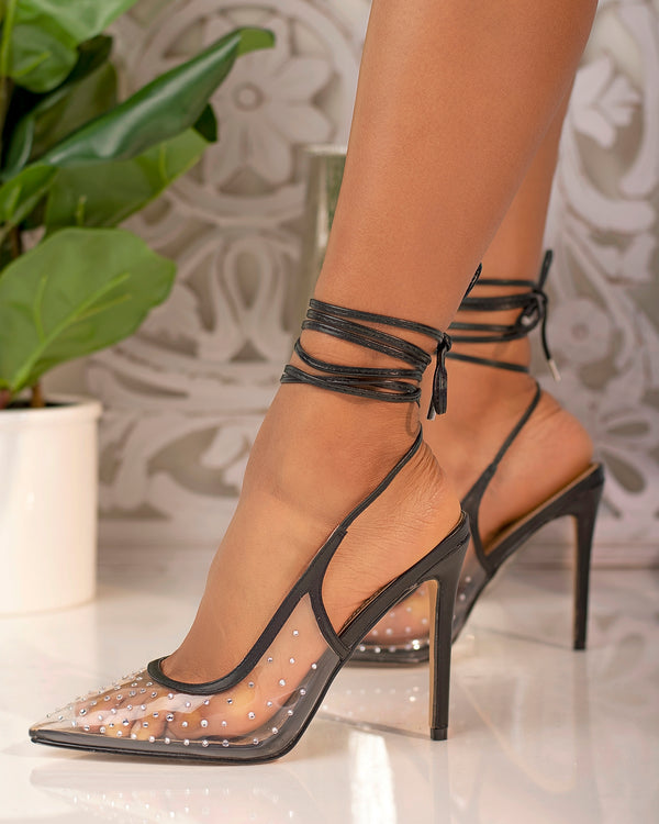 Skylar Lace Up Heel- Black