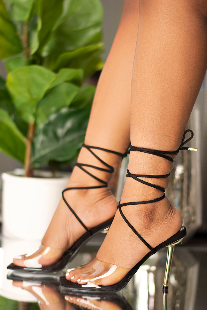 Hailey Lace Up Heel- Black