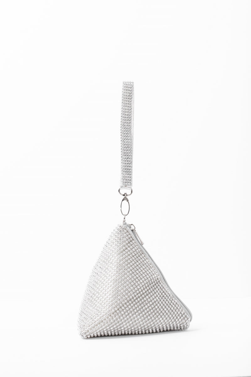 Triangular Rhinestone Bag- Silver