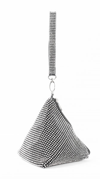 Triangular Rhinestone Bag- Black