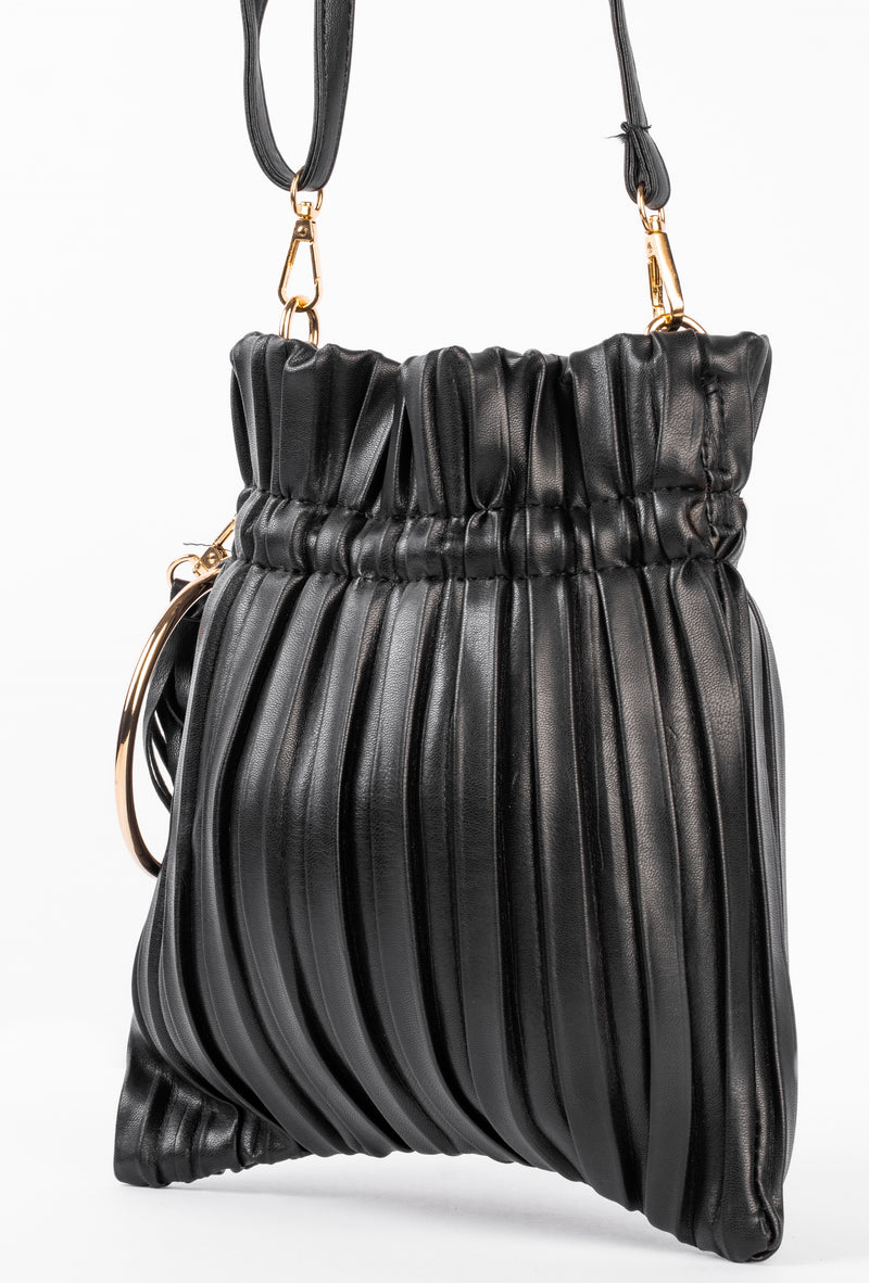 Pleated Crossbody Bag (Black)