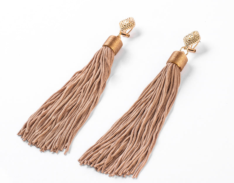 Ariane Elongated Cord Tassel Earrings
