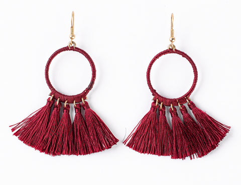 Simi Hoop Tassel Hook Earrings (Burgundy)