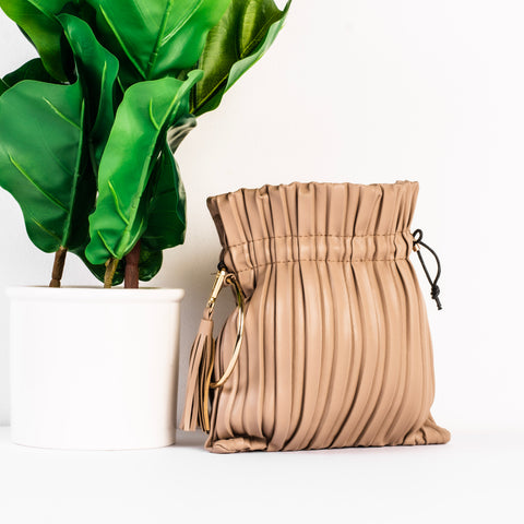 Pleated Crossbody Bag (Tan)
