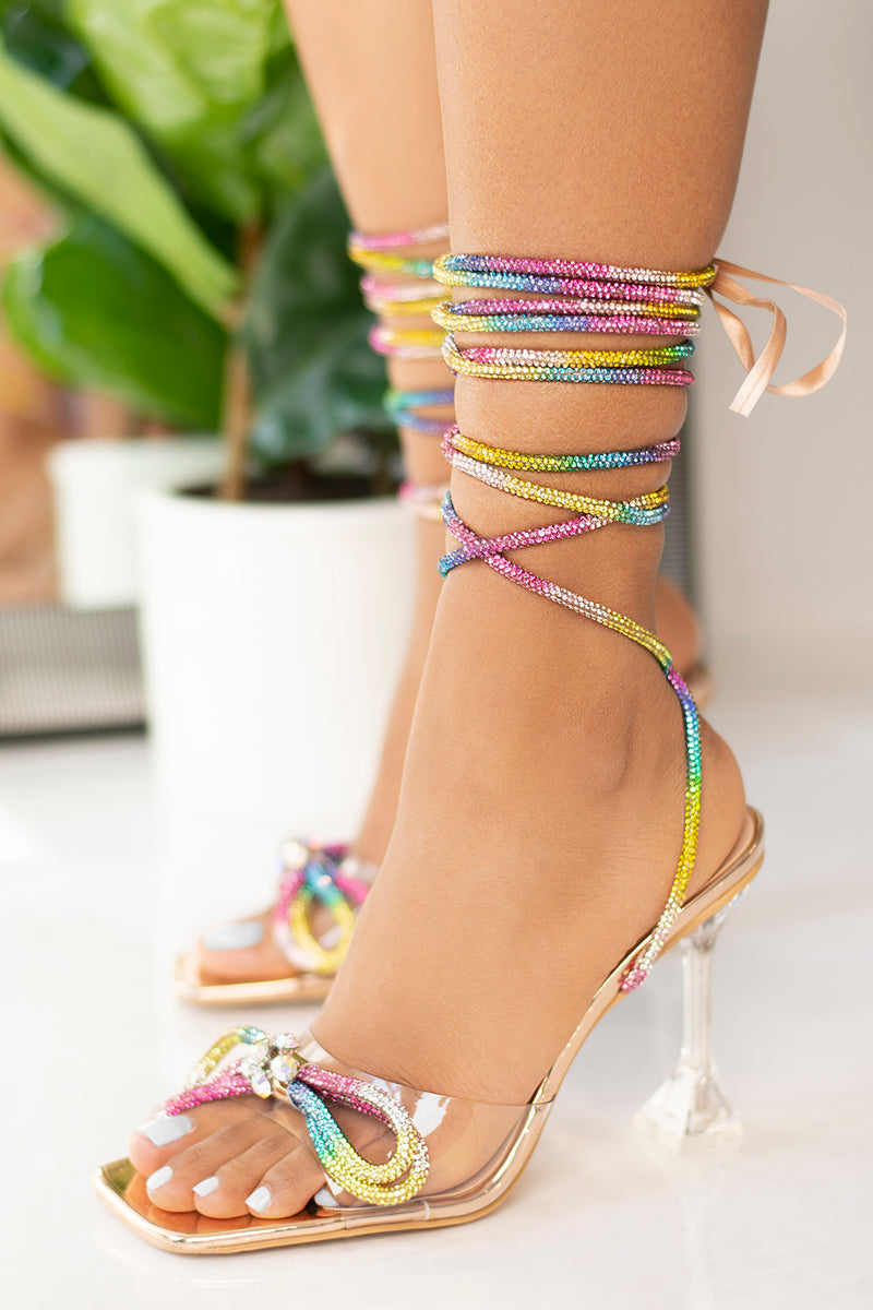 Ball Night Rainbow Lace Up Diamante Bow Heel