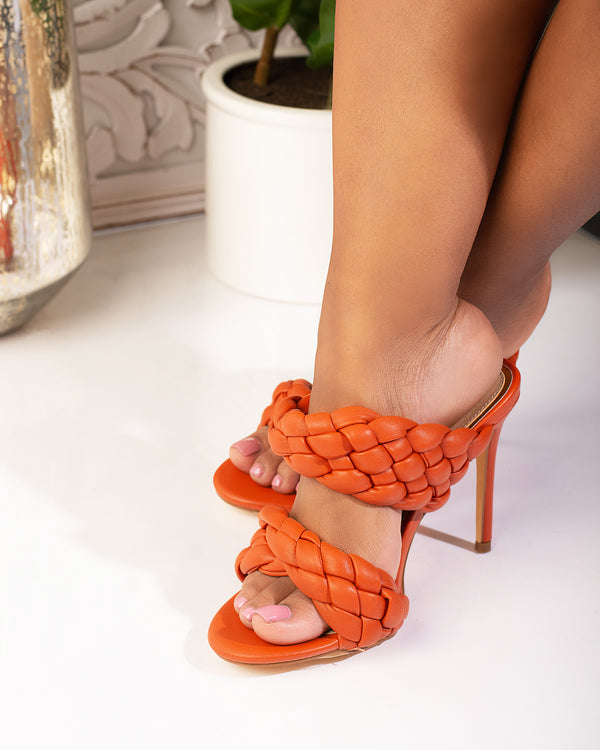 Bryant Woven Braided Mule- Orange