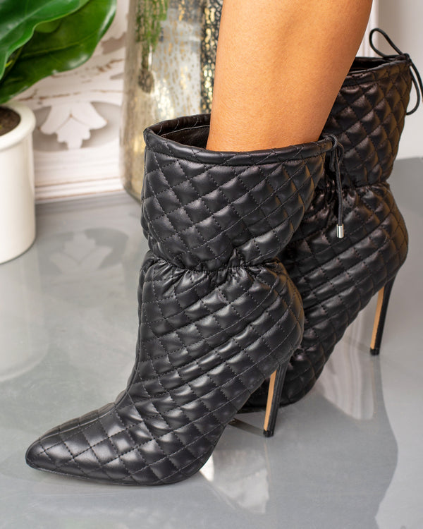 Mandy Quilted Ankle Bootie- Black
