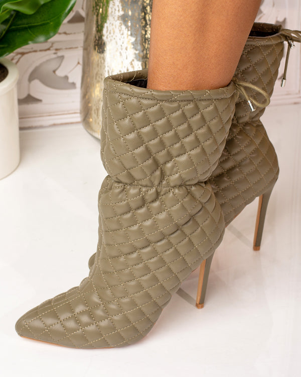 Mandy Quilted Ankle Bootie- Khaki
