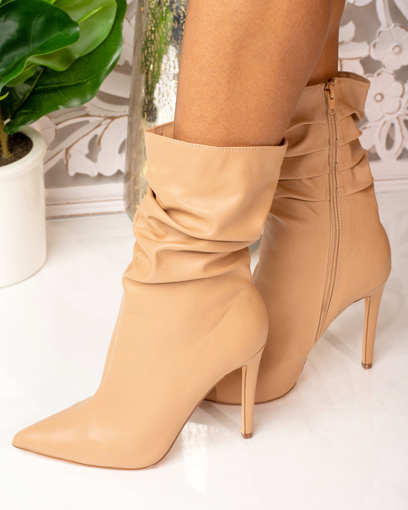 Gianna Slouched Bootie (Nude)