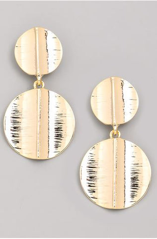 Kimmy Textured Double Disc Drop Earrings