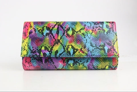 Rainbow Multi Snake Print Clutch