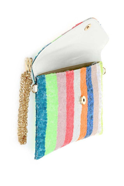 Anaya Rainbow Sequins Clutch