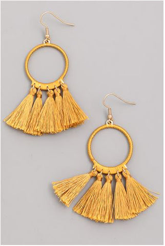 Simi Hoop Tassel Hook Earrings (Mustard)