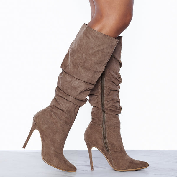Gloria Ruched Knee High Boots (Taupe)