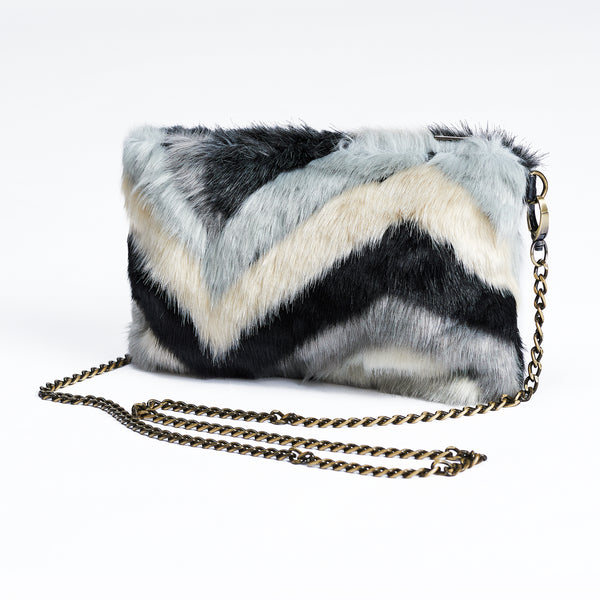 Black Multi Faux Fur Clutch Bag