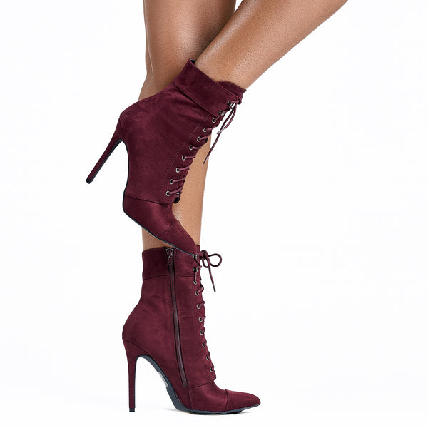 Kayla Lace Up Ankle Bootie-Wine