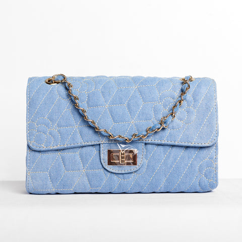 KATIE DENIM QUILTED BAG