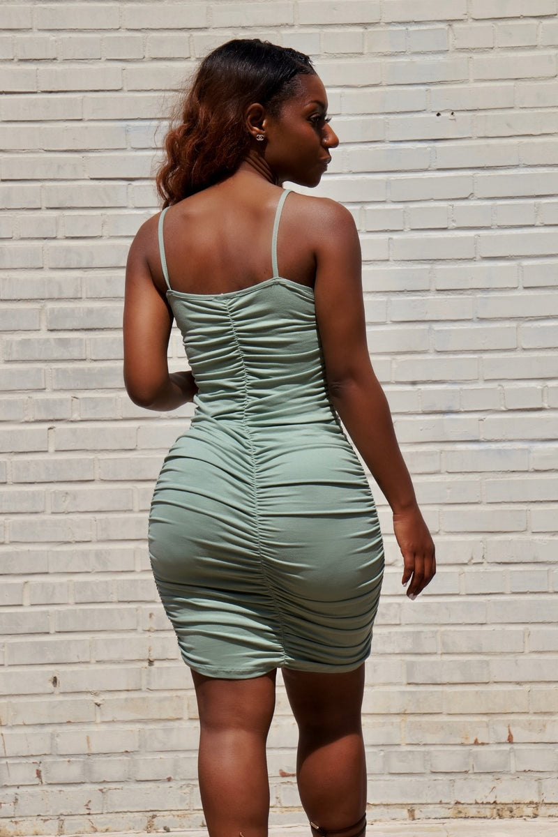 Keep It Cute Ruched Mini Dress- Sage Green
