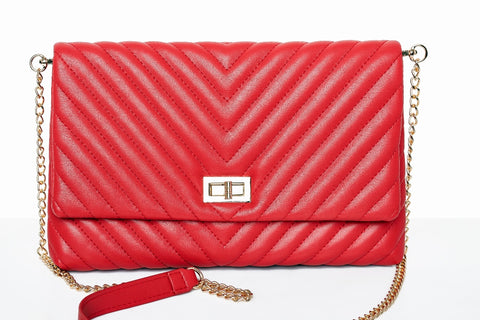 Ava Quilted Chevron Clutch (Red)