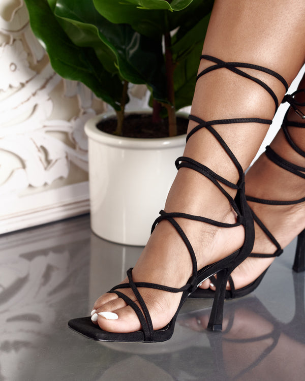 Randy Lace Up Heel -Black