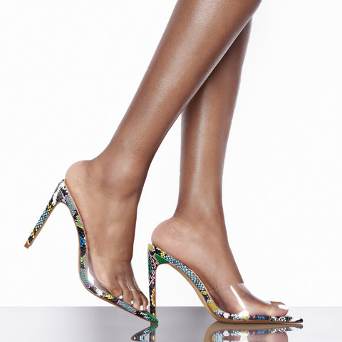 Laurent Perspex Multi Snake Mules