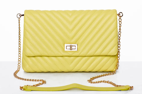 Ava Quilted Chevron Clutch (Yellow)