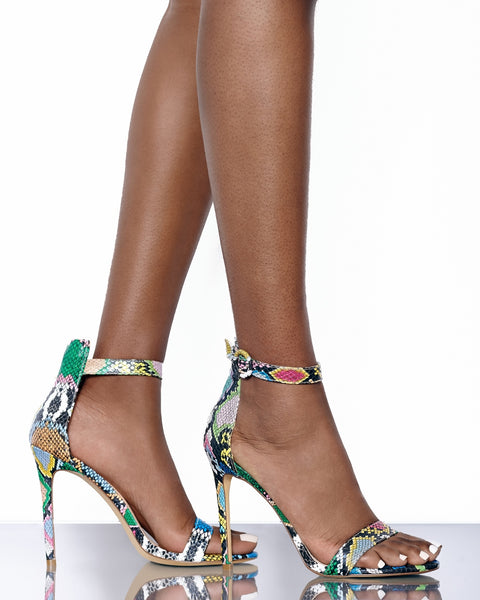 Tisha Multi Snake Single Sole Heel