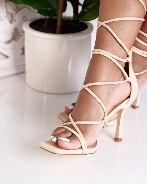 Randy Lace Up Heel -Nude