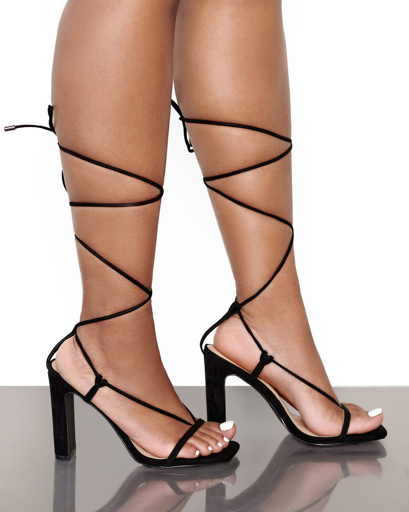 Allure Lace Up Heels- Black