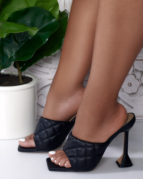 Brianna Quilted Square Open Toe Mule- Black