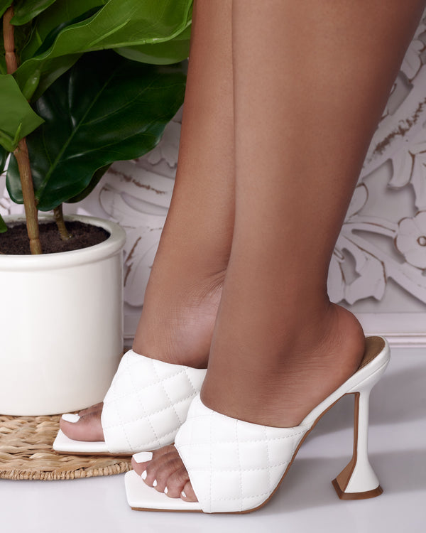Brianna Quilted Square Open Toe Mule- White