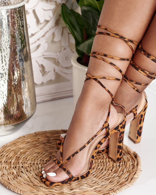 Allure Lace Up Heels- Leopard
