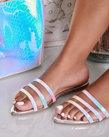 Cammy Iridescent Sandal (Silver)