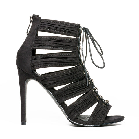 Anes Cut Out Lace Up Heel