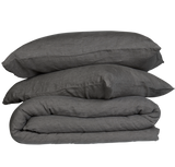 French Linen Quilt Cover Set - Charcoal