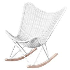 WICKER ROCKING CHAIR - WHITE