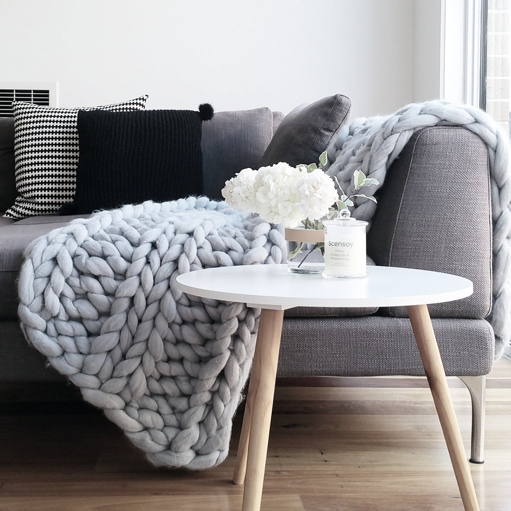Light Grey Chunky Knit Merino Wool Throws & Bed Runners