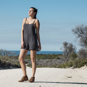 Linen Love Playsuit - Charcoal