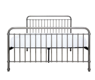 LOUIS GUNMETAL BED - QUEEN