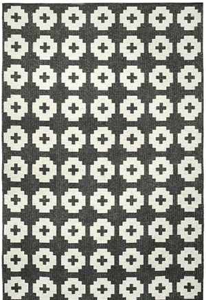 Flower Rug - Black ( Indoor / Outdoor )