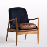 Murdoch Navy Velvet & Leather Chair